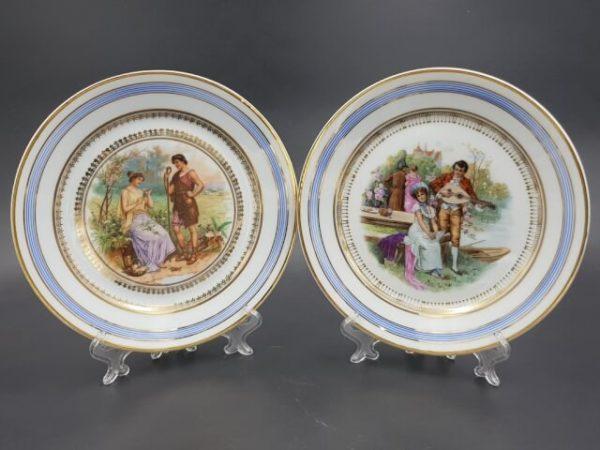 Интерьерные тарелки с маркой Дмитровской фабрики Кузнецова до 1917 года.
