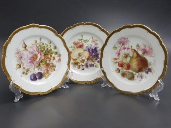 Тарелки с фруктовым декором марка Гарднера до 1890 г.